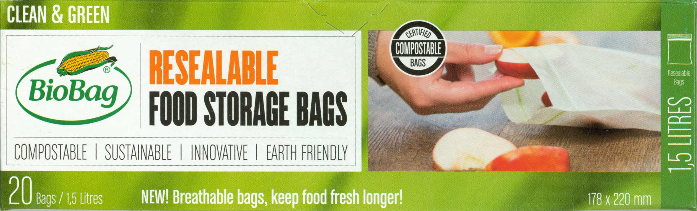 BioBag Resealable Food Storage Bag Box Carton